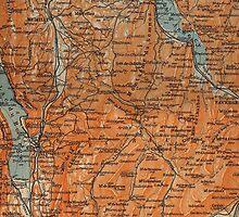 Vintage Map of Annecy France (1914) by BravuraMedia