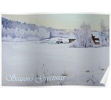 Winter Blanket Season's Greetings blue text Poster