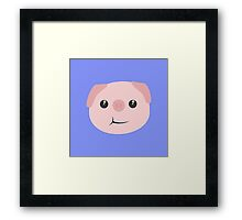 Cute chewing kawaii piggy Framed Print