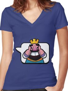 Funny Reaction - Clash royale Women's Fitted V-Neck T-Shirt