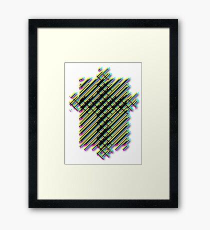 Cross Christian Lattice Hatch CMYK with Drop shadow Large Framed Print