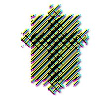Cross Christian Lattice Hatch CMYK with Drop shadow Large Photographic Print