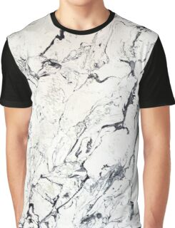 White Marble Contrast Graphic T-Shirt