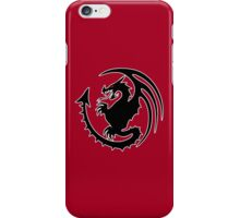 Round Black Dragon Design On Red Background iPhone Case/Skin