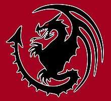 Round Black Dragon Design On Red Background by LuckDragonGifts