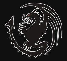 Round Black Dragon Design On Red Background Kids Tee