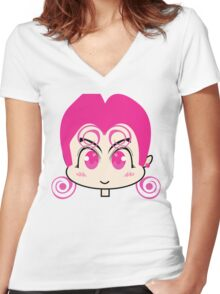 Pink Anime Girl Women's Fitted V-Neck T-Shirt