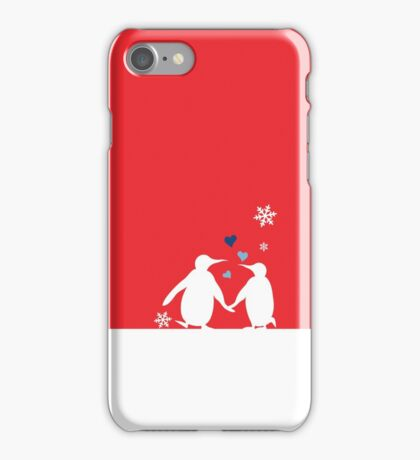 Penguin Couple Red Heart Love Snow iPhone Case/Skin