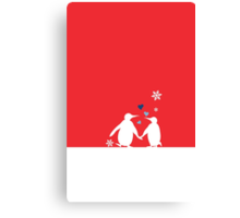 Penguin Couple Red Heart Love Snow Canvas Print
