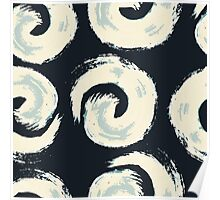 Pattern background with swirls on black background Poster