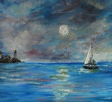 Full Moon Sail by the City by rokinronda