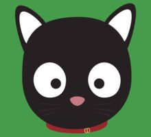Cute black cat with red collar Kids Tee