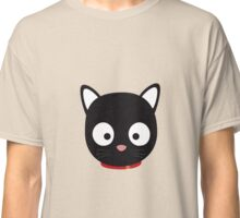 Cute black cat with red collar Classic T-Shirt
