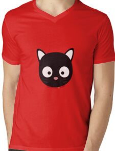 Cute black cat with red collar Mens V-Neck T-Shirt