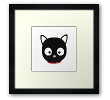 Cute black cat with red collar Framed Print