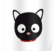 Cute black cat with red collar Poster