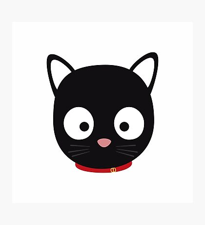 Cute black cat with red collar Photographic Print