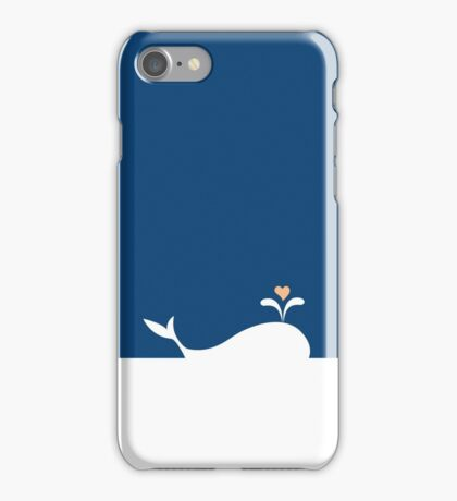Whale in Blue Ocean with a Love Heart iPhone Case/Skin