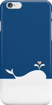 Whale in Blue Ocean with a Love Heart by carmanpetite