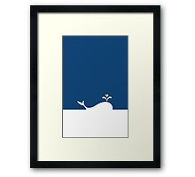 Whale in Blue Ocean with a Love Heart Framed Print