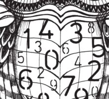 Owl sketch with numbers, glasses Sticker