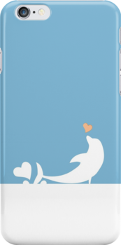 Ocean Dolphin Blue Heart Love by carmanpetite