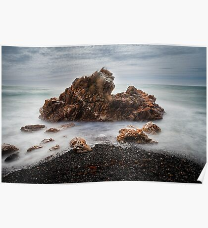 Rocks on a windy day, Boat Harbour, Tasmania Poster