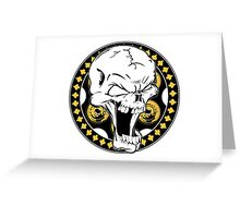 Gold Revolver Skull Greeting Card
