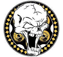 Gold Revolver Skull Photographic Print