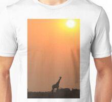 Giraffe Solitude of Gold - African Wildlife Unisex T-Shirt