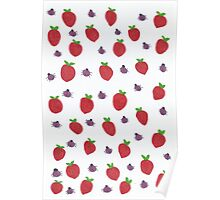 Strawberries and Lady Bugs Poster