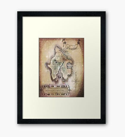 Twin size Classic Neverland Map Framed Print
