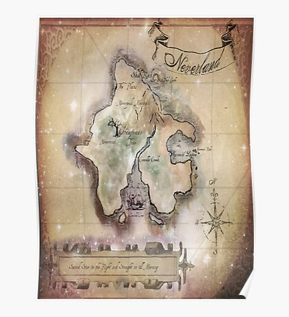 Twin size Classic Neverland Map Poster