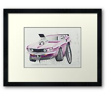 Ford Mustang 1969-Burnout by Glens Graphix Framed Print