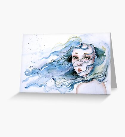 """""""Lily"""" Surreal Watercolor Portrait Greeting Card"""