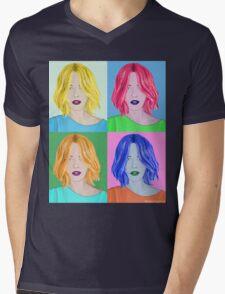 Pop Art Beautiful Woman - Warhol Style Mens V-Neck T-Shirt