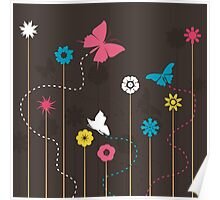 Butterfly and a flower Poster