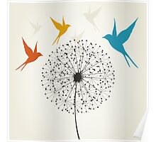 Dandelion and bird Poster
