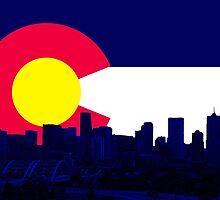 Denver Skyline CO Flag by Emily Christine Lankford