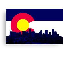 Denver Skyline CO Flag Canvas Print