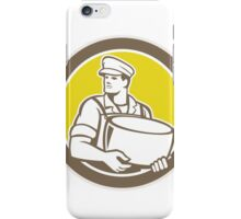 Cheesemaker Holding Parmesan Cheese Circle iPhone Case/Skin