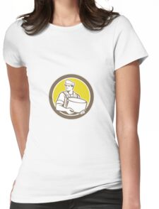 Cheesemaker Holding Parmesan Cheese Circle Womens Fitted T-Shirt