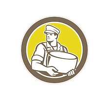 Cheesemaker Holding Parmesan Cheese Circle by patrimonio