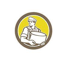 Cheesemaker Holding Parmesan Cheese Circle Photographic Print