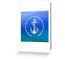 Never Give Up Your Dream Tropical Blue Ocean Vintage Anchor Greeting Card