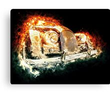Drawn vehicle, similar to a sports retro car in flames Canvas Print