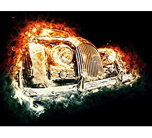 Drawn vehicle, similar to a sports retro car in flames Photographic Print