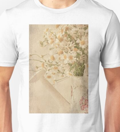 Wild Daisies In Watering Can Unisex T-Shirt