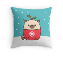 Christmas Pug Puppy  Throw Pillow
