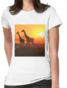 Giraffe - Sunset Gold and Harmony - African Wildlife Womens Fitted T-Shirt